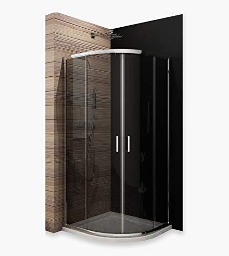 duschabtrennung viertelkreis Duschkabine Viertelkreis 80 x 80cm Duschabtrennung Runddusche Schiebetür Duschtüren aus Glas Duschwand ohne Duschtasse Höhe 185cm grau