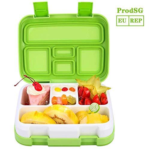 Jelife Bento Box Kids Brotdose Lunchbox Kinder für Schule Picknick Ausflug mit 5 Unterteilungen auslaufsicher grün Bento-box