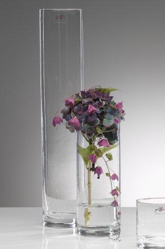 Cyli Jarrón de cristal, florero de cristal, florero de mesa, cilindro de...
