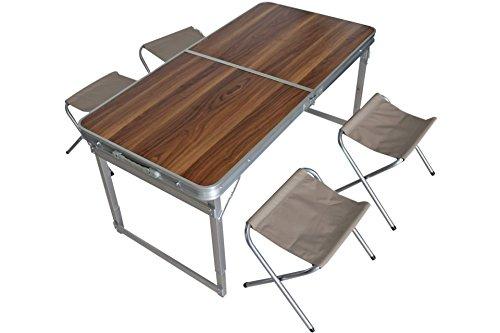 Unbekannt Klappbares Camping Set mit Tisch im Holzdesig…   04052304226897