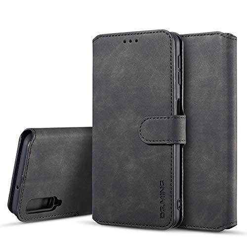 Premium-handy-holster (xinyunew Samsung Galaxy A7 2018 Hülle, 360 Grad Handyhülle + Panzerglas Premium Handy Schutzhülle Leder Wallet Tasche Flip Brieftasche Etui Schale (Schwarz))