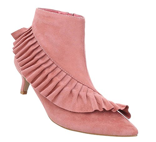 Damen Schuhe Stiefeletten Boots Rosa 37 (Kniehohe Schaft-stiefel)