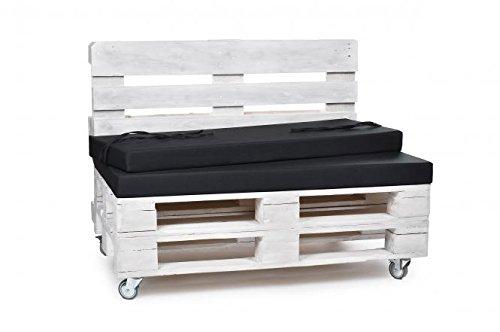 Palettenkissen, Gartenmöbel Auflagen, Sitzbankauflage, Matratzenauflagen auch m. Rückenlehne bzw. Dekokissen in Polyester schwarz, wasserabweisend und strapazierfähig