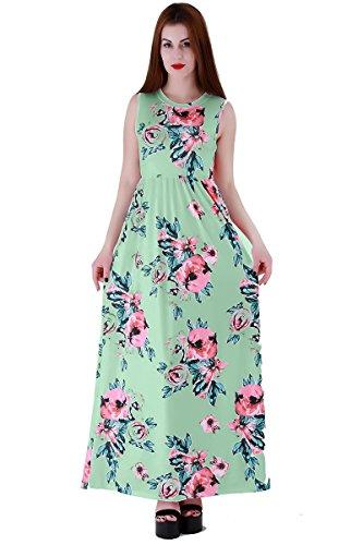 YMING Vestito floreale delle donneVestito casuale maxi da stampa floreale del vestito lungo di stile di Boho, S-XXXL Verde, senza maniche Maxi Dress