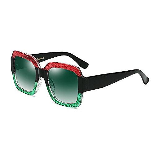 Yiph-Sunglass Sonnenbrillen Mode Damen-Sonnenbrille Übergroßes Viereck für UV-Schutz Unisex-Sonnenbrillen Stilvolle große Dame für unterwegs (Farbe : Grün)