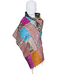 Indiweaves Vintage Silk Hand Quilted Kantha Hand Work Dupattas Reversible Scarves Scarf Patchwork Multicolor(80200... - B0767MJ4T5