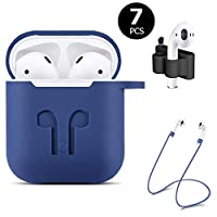 ICETEK AirPods Case Cover, Silicone AirPods Case Protective 7 In 1 AirPods Accessories Set with Clip Holder/Keychain/Strap/Ear hooks/Soft Storage Bag for Apple Airpod (3-Blue)