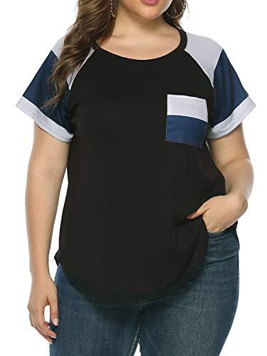 AMORETU Damen-T-Shirts, Übergröße, Farbblock, kurzärmlig, Größe 18-34 Gr. 54 DE/56 DE=4XL, Schwarz