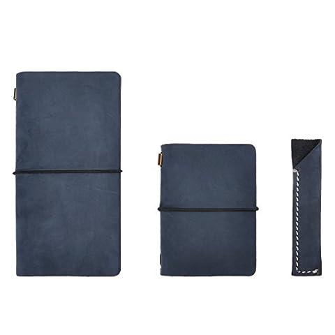 ZLYC Agenda / carnet de notes en cuir - rechargeable, classique / vintage, fait à la main, avec porte-crayons, lot de trois unités