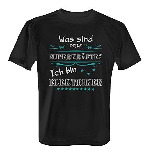 Was sind deine Superkräfte? Ich bin Elektriker - Herren T-Shirt von Fashionalarm | Spaß & Fun Shirt mit Spruch | Geschenk Idee für Männer Berufseinsteiger & Absolvent Beruf Job Arbeit Lustig Schwarz