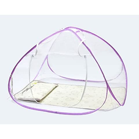Portable Foldable Baby Kid Toddler Child Infant Newborn Nursery Travel Bed Crib Canopy Pop Up Mosquito Net Netting Play Tent Playpen House Playhouse Castle Outdoor Indoor Carry Case (Purple) by HongYu - Canopy Toddler Crib