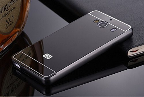 SDO™ Metal Bumper Frame Case with Acrylic Mirror Back Cover Case for Xiaomi Redmi 2/Redmi 2 Prime - Black