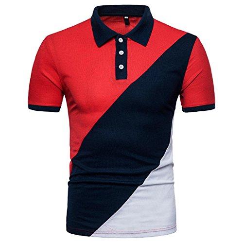 Herren Poloshirt Polohemd Casual Schlank Patchwork Kurzarm Polo T-Shirt Hemd Top Bluse Sommerhemd Slim (2XL, Rot)