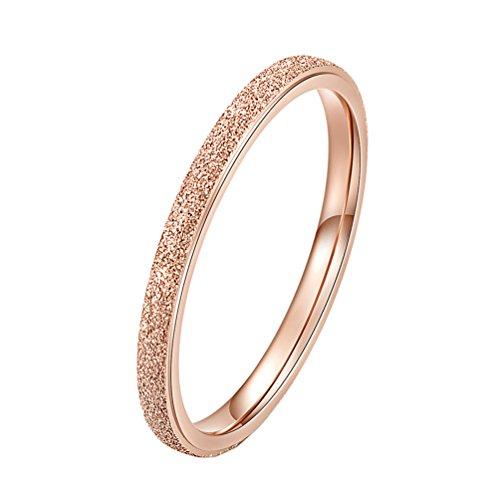 PAURO Damen Ring aus Edelstahl Roségold 2Mm Stapelbar Ehering Sandblast Finish Größe 60