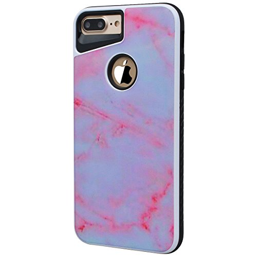 Yokata 2 in 1 iPhone 7 Hülle Weich Silikon Handyhülle Innere mit Hart PC Plastik Marmor 3D Schutz Backcover Armor Schutzhülle Schale Etui Ultra Dünn Slim 2 Layer Case Silicone Bumper Protective Cover  Weiß Pink