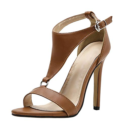 r Omingkog Joker Sandalen mit hohen Absätzen Fesselriemen Schuhe Peeptoe Sandalen Freizeit Hochhackige Schuhe(Brown,62) ()