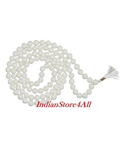 IndianStore4All 100% Original White Agate Hakik Japa Mala Yoga Meditation