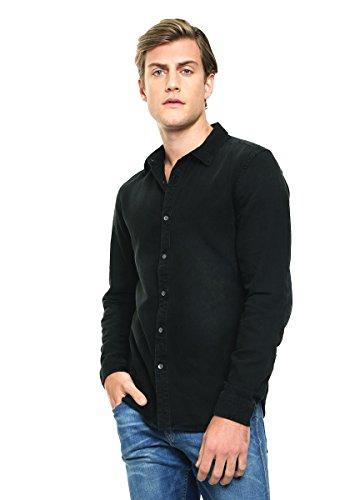 Guess Herren Jeans Hemd Slim Fit Floralprint - Schwarz - X-Large