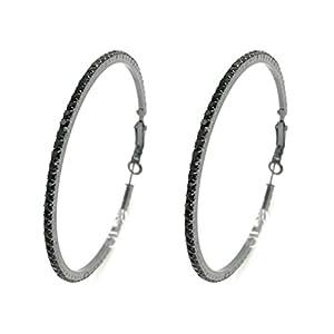 SAVIAURA Black Plated Big Hoop Crystal Drop Earrings For Women