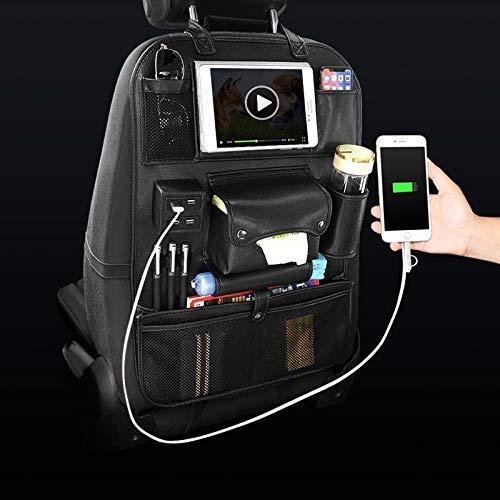 sitz Schutz Rückenlehnenschutz Zubehör Autositz Organizer Innen Auto Rücksitz Aufbewahrungstasche Universal Reisetasche 4 USB Ladung Handy für Kinder, Schwarz 1 stück ()