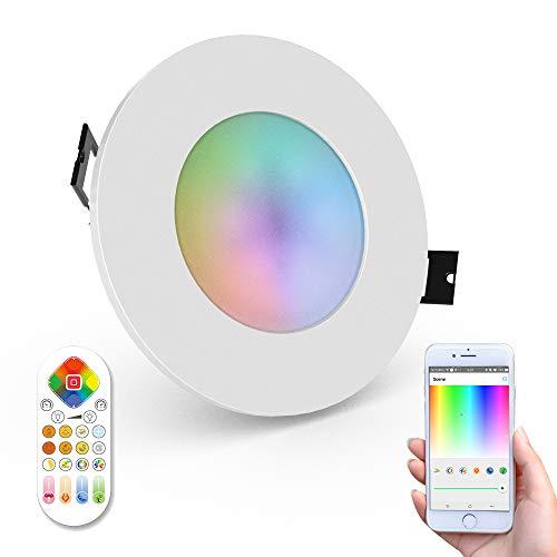 iHomma LED Smart Spot Encastrable IP65,Télécommande,Contrôle d'APP par WiFi, Dimmable Cool Blanc Chaud Multicolore RGB,Fonction Minuterie, Encastrable Spot Lumière Bicolore pour Salon Chambre,6W 350LM