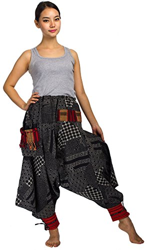 Lofbaz Damen Hmong Baumwolle Bedruckte Triangle Harem Hosen Design #1 Beehive Schwarz