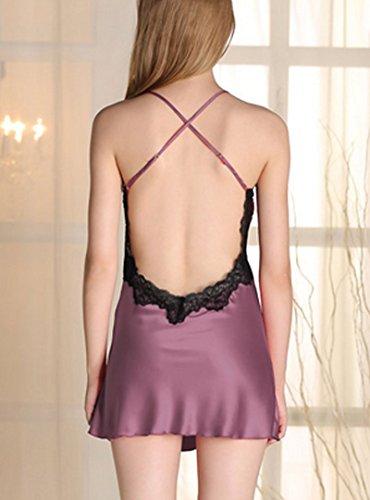 La HAUTE Femme Pyjamas sexy robe transparent V-cou jupe dos nu sling Pyjama en dentelle Violet