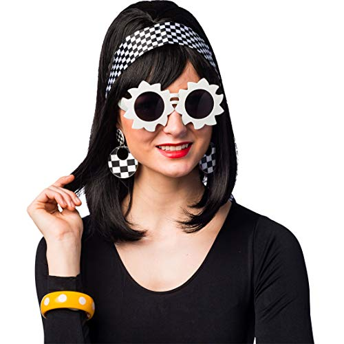 Verrücktes 60er-Jahre Accessoires-Set mit Brille, Ohrringen, Tuch & Armreif | Weiß-Schwarz & Gelb | Ausgefallenes Damen-Kostüm-Zubehör Vintage Karo-Muster | Perfekt geeignet für Mottoparty & Fasching