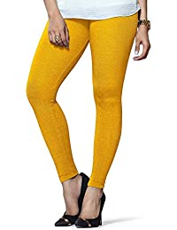 Selenas Womens Cotton Leggings(S08_Yellow_Free Size)