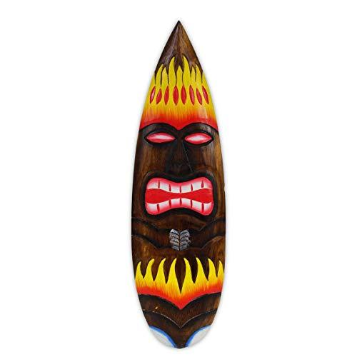 Wanddeko Wandschild Surfbrett Hawaiischild Holzschild Wandbrett Bardeko Partydeko Schild Strand Hawaii Tiki Maske Flammen 60cm Holz -