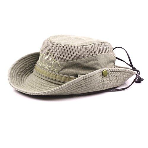 Charmylo Baumwolle Sonnenhut Herren Sommerhut UV Schutz Wanderhut Fischerhut Trekking Faltbar SafariHut mit Kinnband Outdoor Buschhut Hiking Bucket Hat -