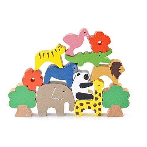 TOYMYTOY Bloques de apilamiento de equilibrio animal Juguete Montessori de madera para...