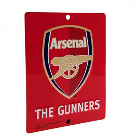 Arsenal F.C. Window Sign SQmetal window sign , approx 14cm x 12cm , with rubber window suckers , Official Football Merchandise