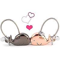 Llavero para pareja, 1 par de llaveros de aleación de zinc, para Navidad, cumpleaños, día de San Valentín, aniversario, boda