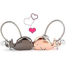 Coppia portachiavi, 1 paio lega di zinco baciare carino animale coppia chiave anelli chiave gancio per ragazza fidanzata regalo di San Valentino (Whale)
