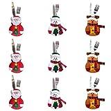 9 PCS Bolsita para cubiertos, tres diseño Papa Noel, Renos, Muñeco de Nieve para...