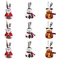 fe19cd7cb5 9 bustine PCS per posate, tre design Babbo Natale, renne, pupazzo di neve  per la tavola delle decorazioni natalizie