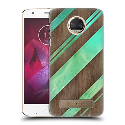 Head Case Designs Offizielle Alyn Spiller Diagonale Streifen Holz Und Harz Harte Rueckseiten Huelle kompatibel mit Motorola Moto Z2 Play -