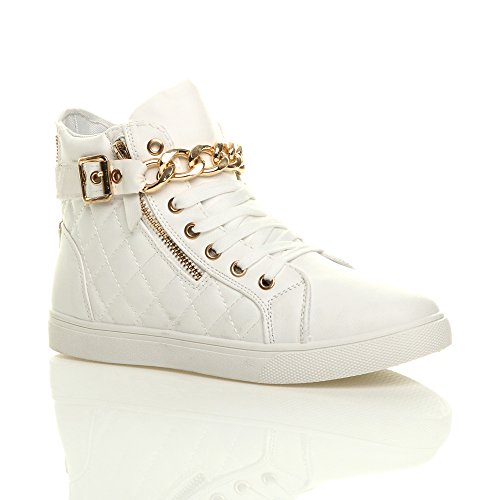 Oi Branco Colcha top Ouro Sneakers Laço Cinto De Cadeia Tamanho Senhoras wxfU7pRqq