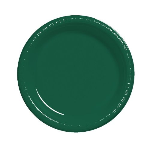 Creative Converting Touch of Color 20 Count Plastic Dinner Plates, Hunter Green Hunter Green Teller