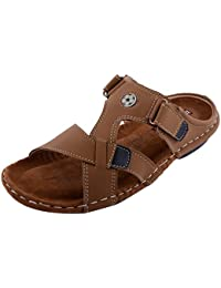 Real Blue Men's Beige Synthetic Sandals  men leather slip on sandal   real blue daily use sandal   real blue men leather brown sandal   men casual sandal
