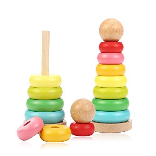 Jacootoys Holz Rainbow Stacker Ring Stacking Blocks Lernspielzeug für Kleinkind