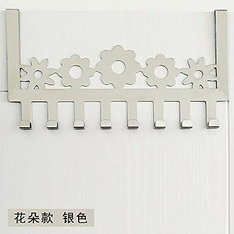 puerta de acero inoxidable minimalista después de ganchos no están libres de arañazos clavija puertas ganchos de percha dormitorio escudo perchas de puerta trasera, [flores de orquídeas - Plata]