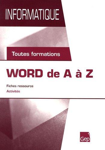 Word de A à Z : Toutes formations