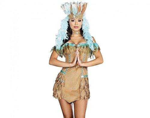 Kostüm INDIANERIN BRAUN/TÜRKIS mit FEDERN, Größe:S/M (Halloween Pocahontas Kostüm)