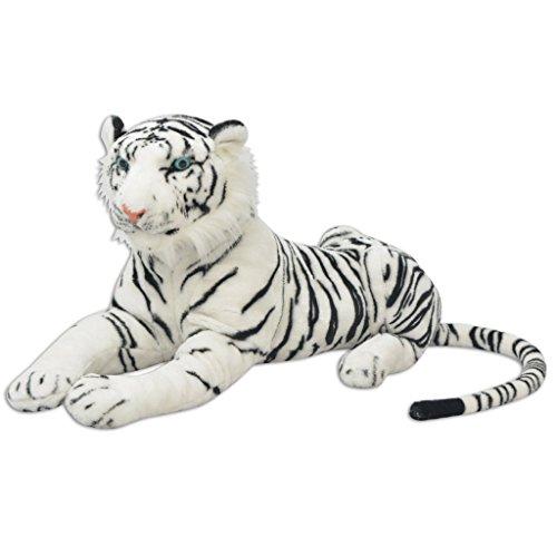 Festnight XXL Plüschtiger Tiger-Form Plüschtier 146x40cm Stofftiger Stofftier Plüsch Kuscheltier Spielzeug als Geschenk für Kinder - Wei?