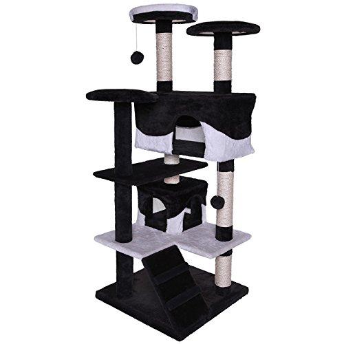 dibea KB00308 Kratzbaum - Kletterbaum für Katzen (Höhe 130 cm), schwarz/weiß