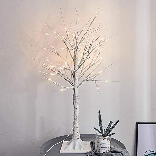 fsttm88 LED-Birken-Baum-Lampe, Zweig-Birke-Baum-Lichter mit 24 LEDs für Hauptfeier-Feiertags-Dekoration(45cm,Weiß)