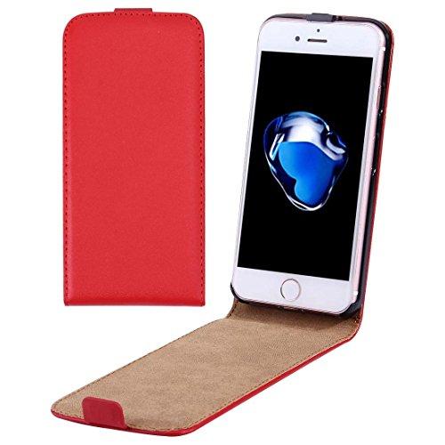iPhone Case Cover Per il caso di cuoio di iPhone 7 verticale flip Genuine Split ( Color : Red )