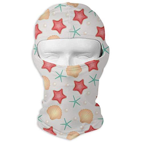 Sdltkhy Ocean Seashell Starfish Pearl Men Women Balaclava Neck Hood Full Face Mask Hat Sunscreen Windproof Breathable Quick Drying White Fashion1